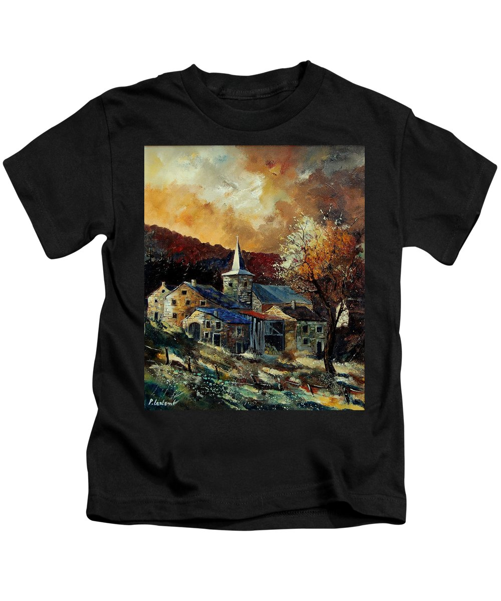 Tree Kids T-Shirt featuring the painting A Village In Autumn by Pol Ledent