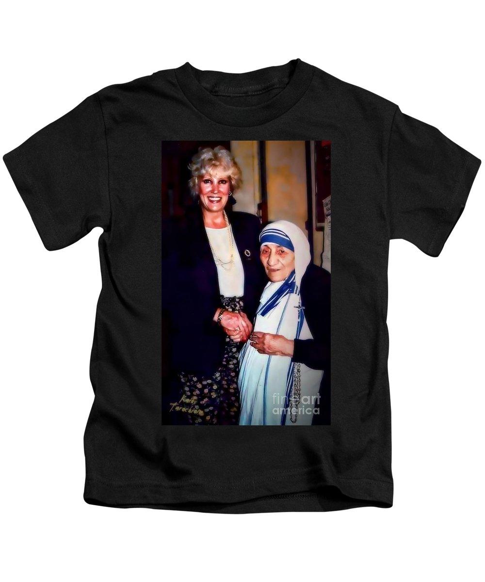 Mother Teresa Kids T-Shirt featuring the digital art A Vist With Mother Teresa by Kathy Tarochione