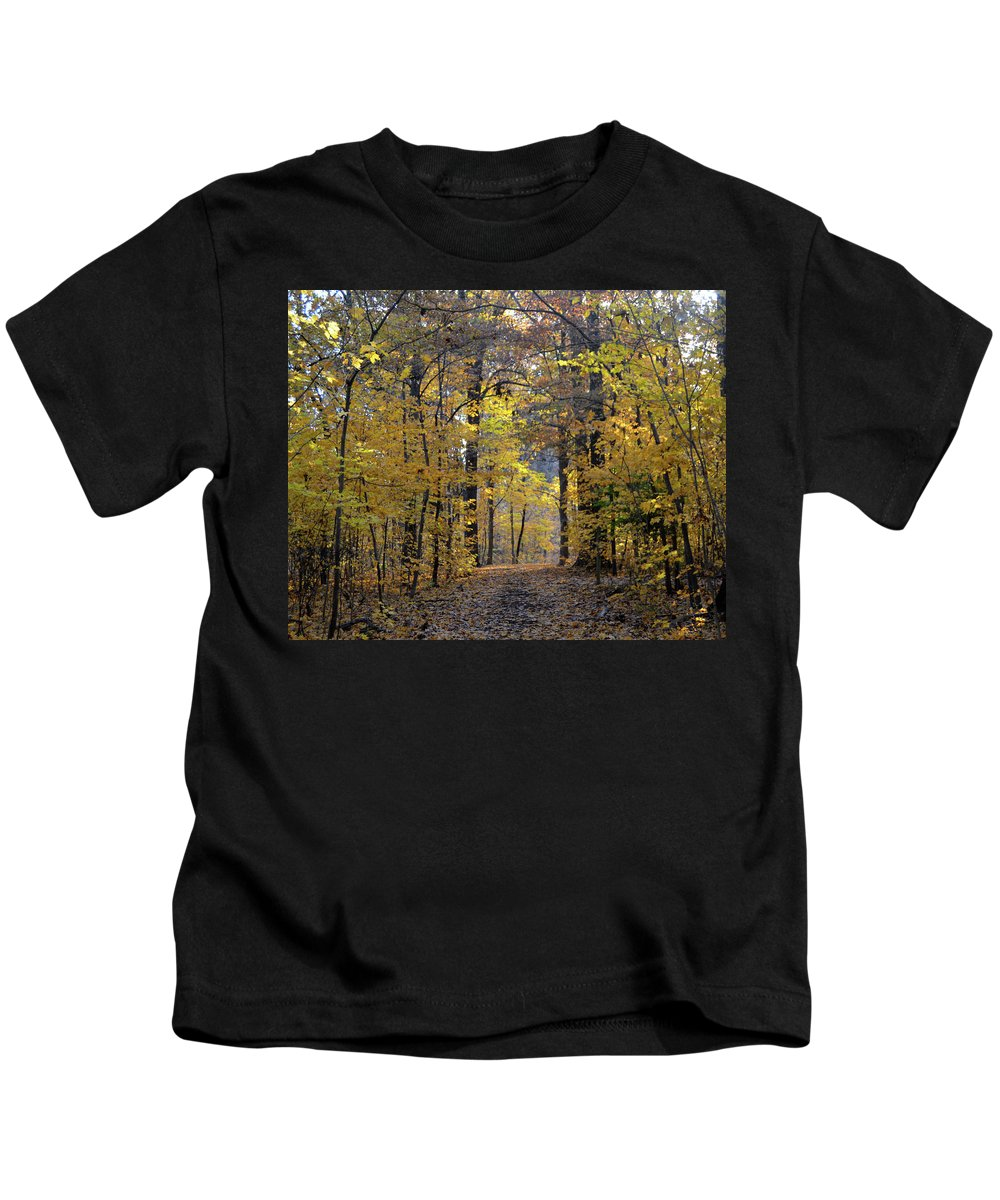 Fall Leaves Kids T-Shirt featuring the photograph A Walk In The Woods by Sue Houston