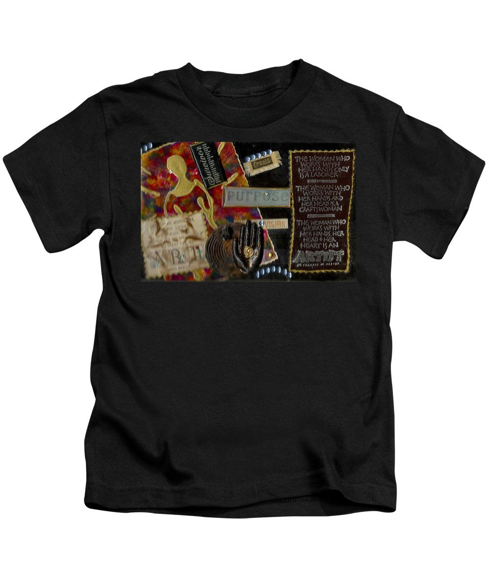 Journal Art Kids T-Shirt featuring the mixed media A Woman With Purpose by Angela L Walker