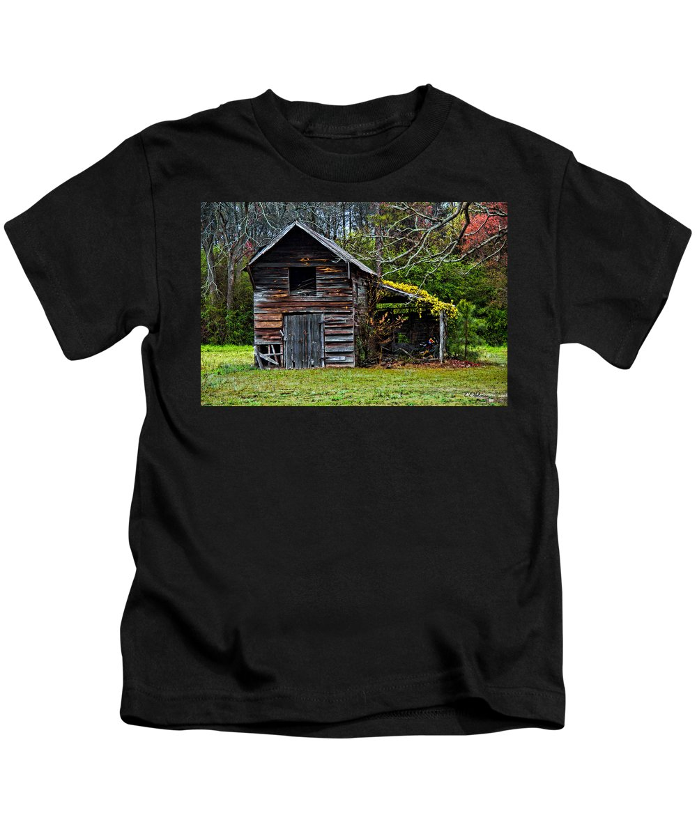 Barn Kids T-Shirt featuring the photograph A Yellow Cover by Christopher Holmes