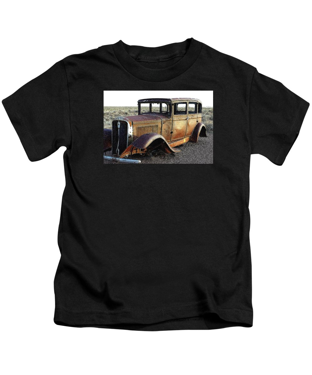 Arizona Kids T-Shirt featuring the photograph Abandonded Along Rt 66 by Nelson Strong