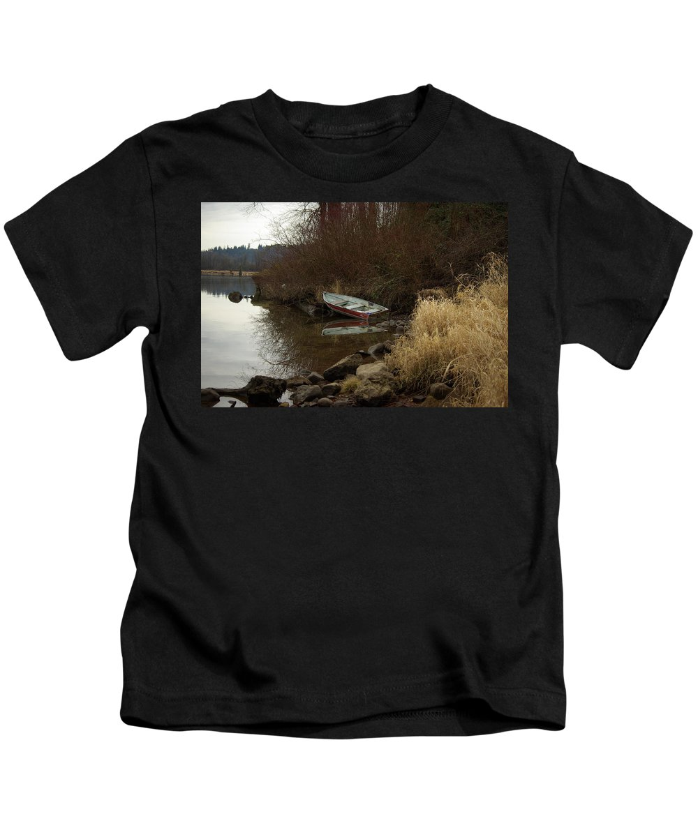 Abandoned Kids T-Shirt featuring the photograph Abandoned Boat II by Cindy Johnston