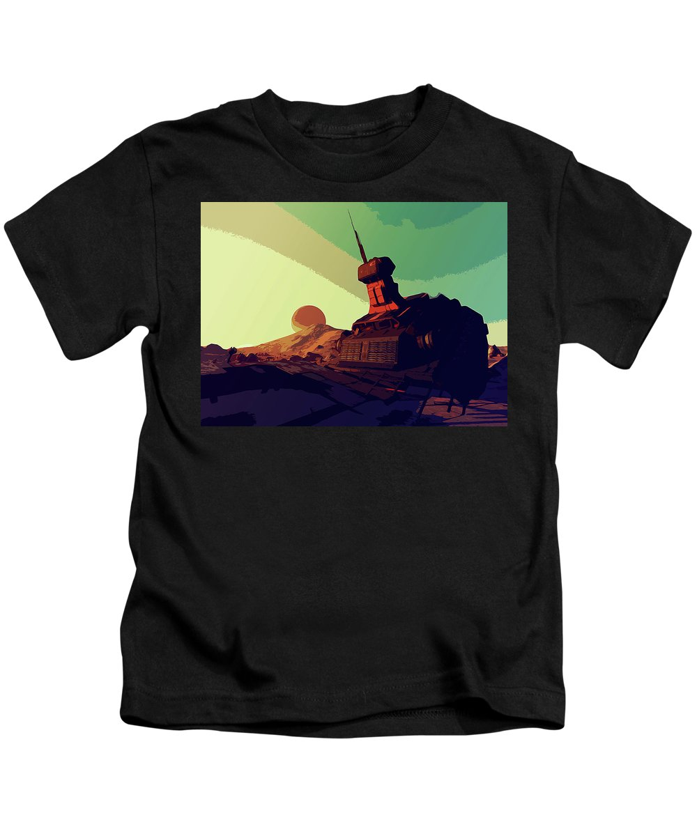Planet Kids T-Shirt featuring the painting Abandoned On An Alien World by Andrea Mazzocchetti