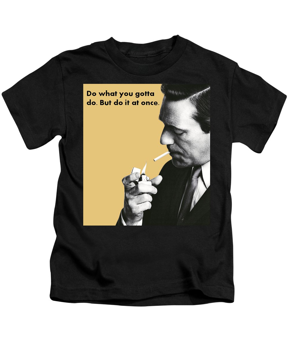 Don's Wisdom Kids T-Shirt featuring the mixed media About Action by Stefan Weiss