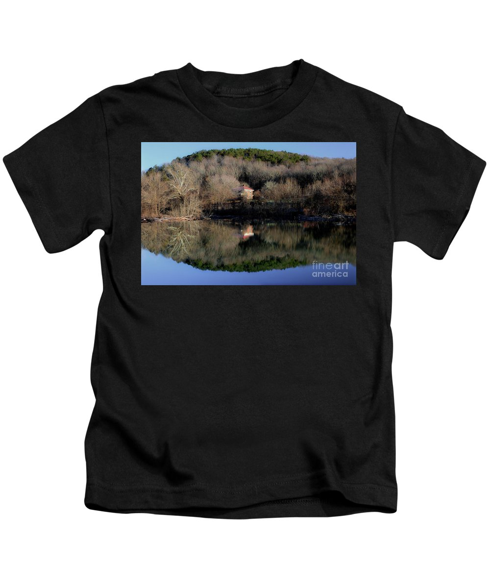 River Reflection Kids T-Shirt featuring the photograph Above The Waterfall Reflection by Michael Eingle