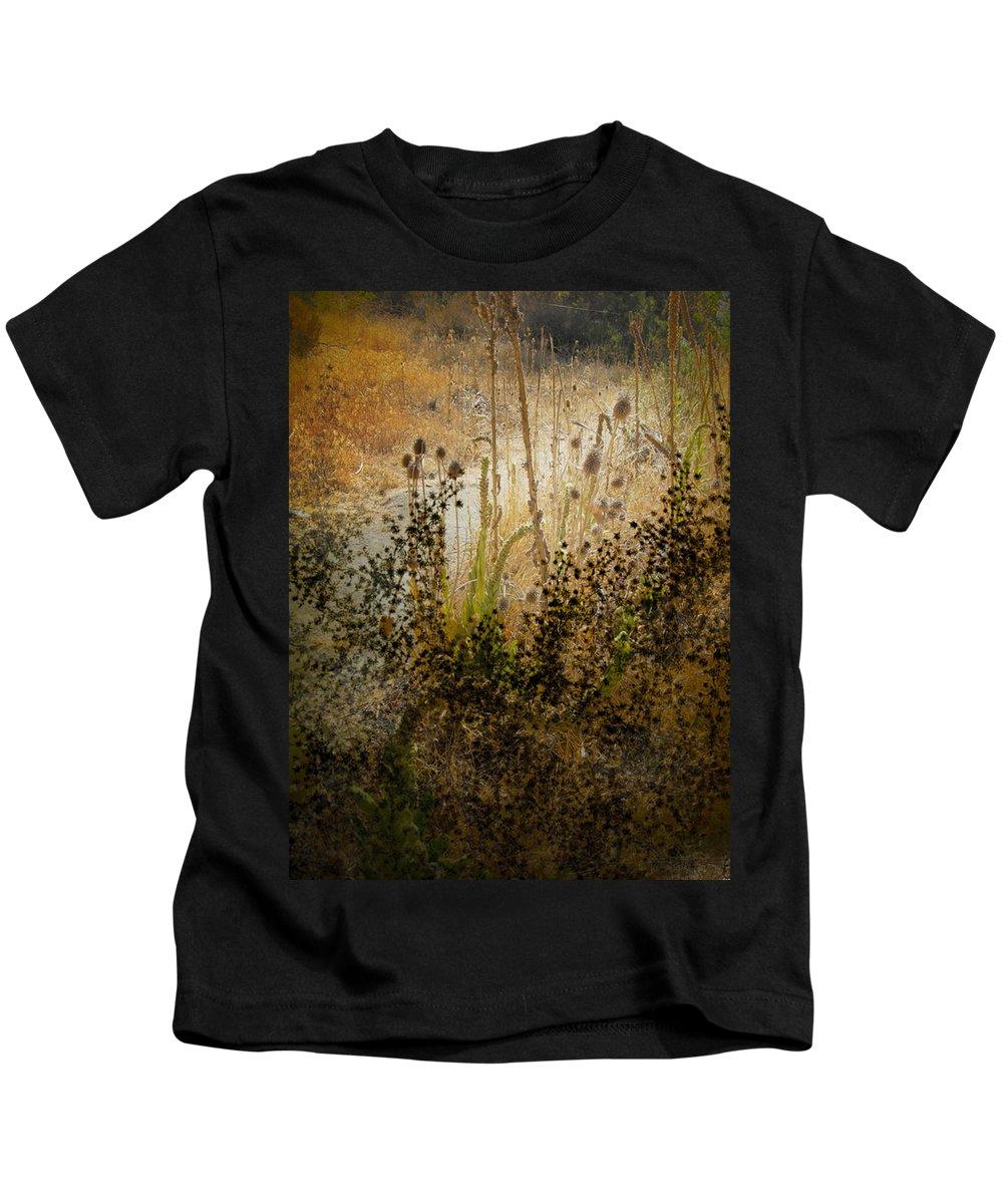 Landscape Kids T-Shirt featuring the photograph Abstract - Burning Bush by Karen W Meyer