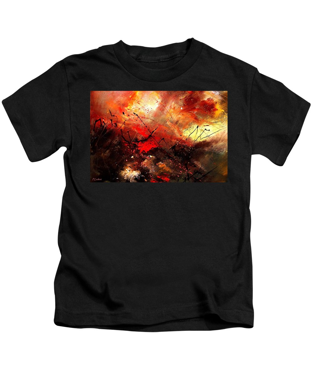 Abstract Kids T-Shirt featuring the painting Abstract 100202 by Pol Ledent