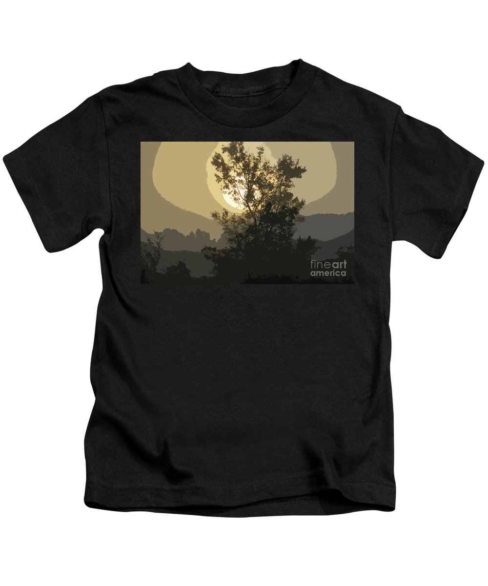 Sunrise Kids T-Shirt featuring the photograph Abstract Foggy Sunrise by Maggie Cersosimo