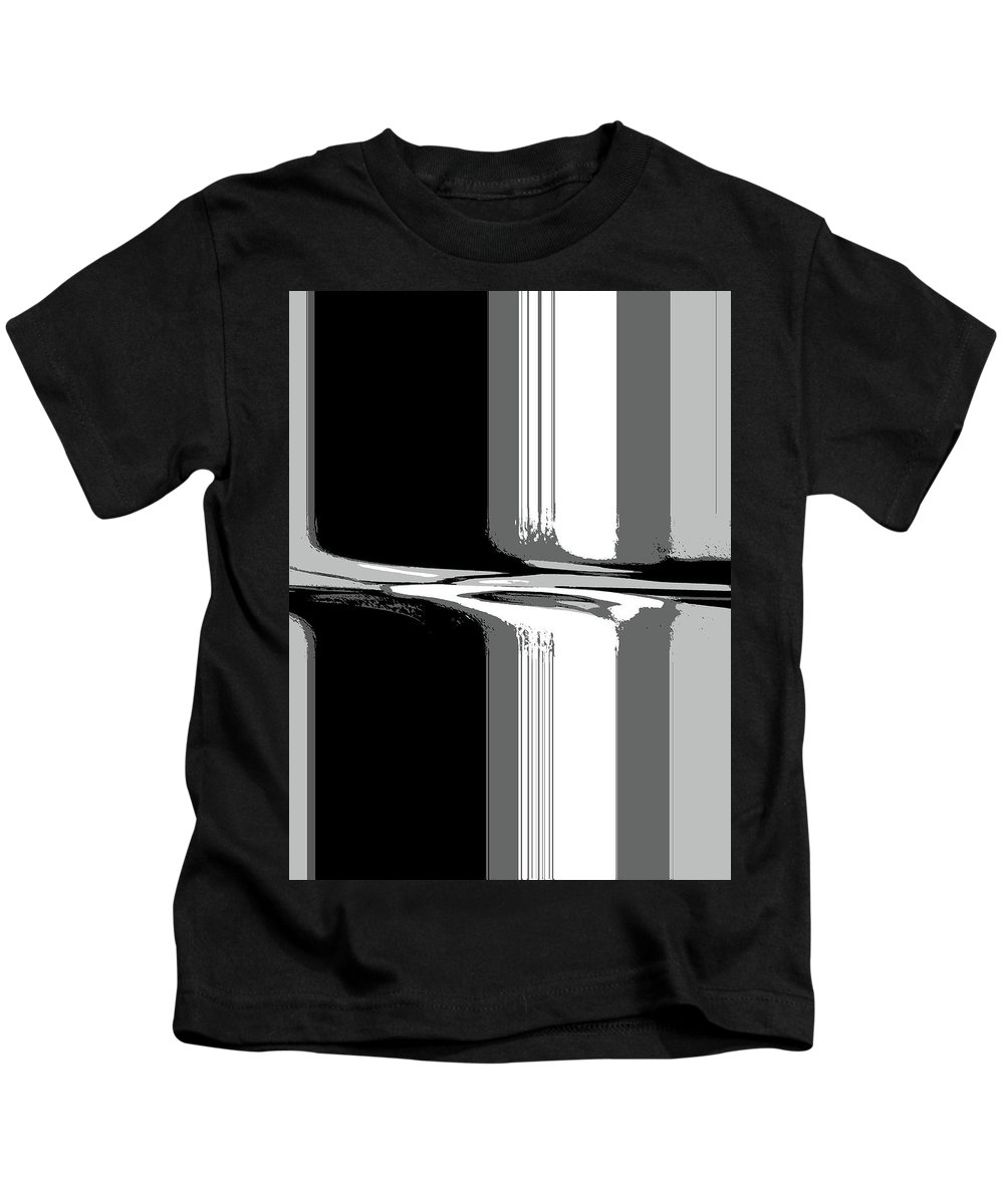Abstract Kids T-Shirt featuring the digital art Abstract In Black And White by Lenore Senior