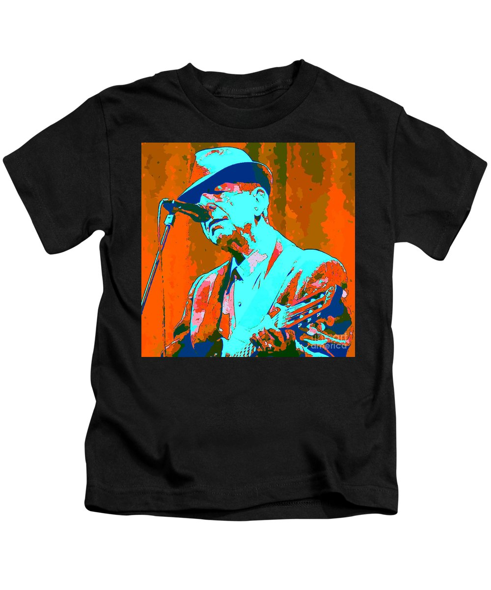 Leonard Kids T-Shirt featuring the painting Abstract Of Leonard Cohen by John Malone