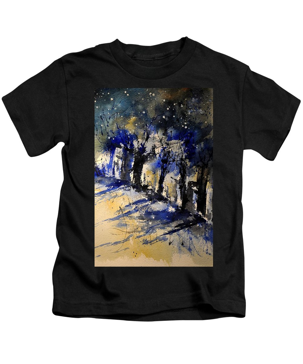 Abstract Kids T-Shirt featuring the painting Abstract Trees by Pol Ledent