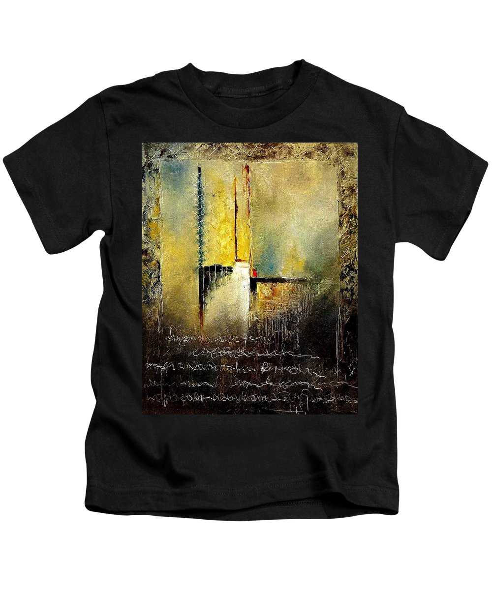 Abstract Kids T-Shirt featuring the painting Abstrct 3 by Pol Ledent