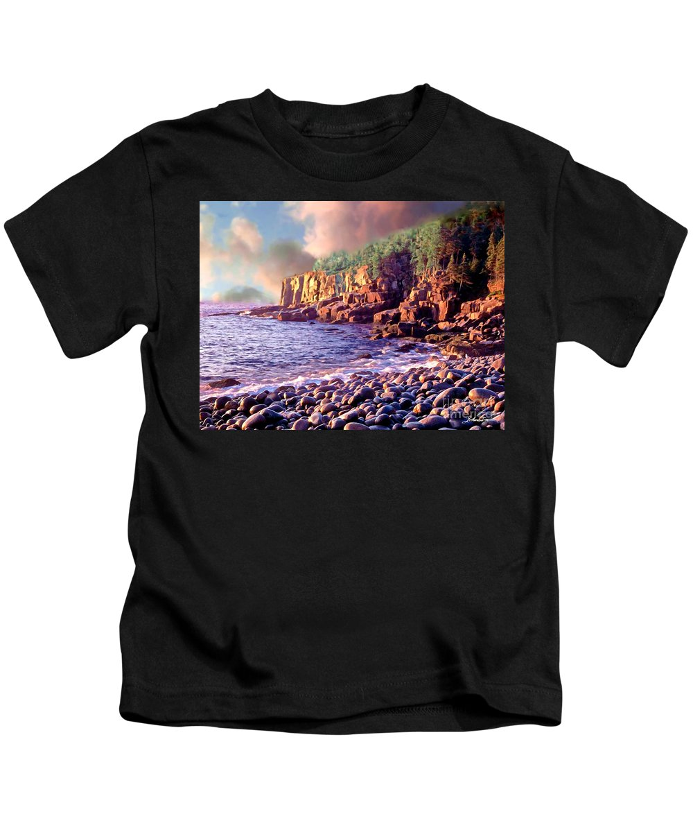 Robert Kids T-Shirt featuring the painting Acadia National Park by Bob and Nadine Johnston