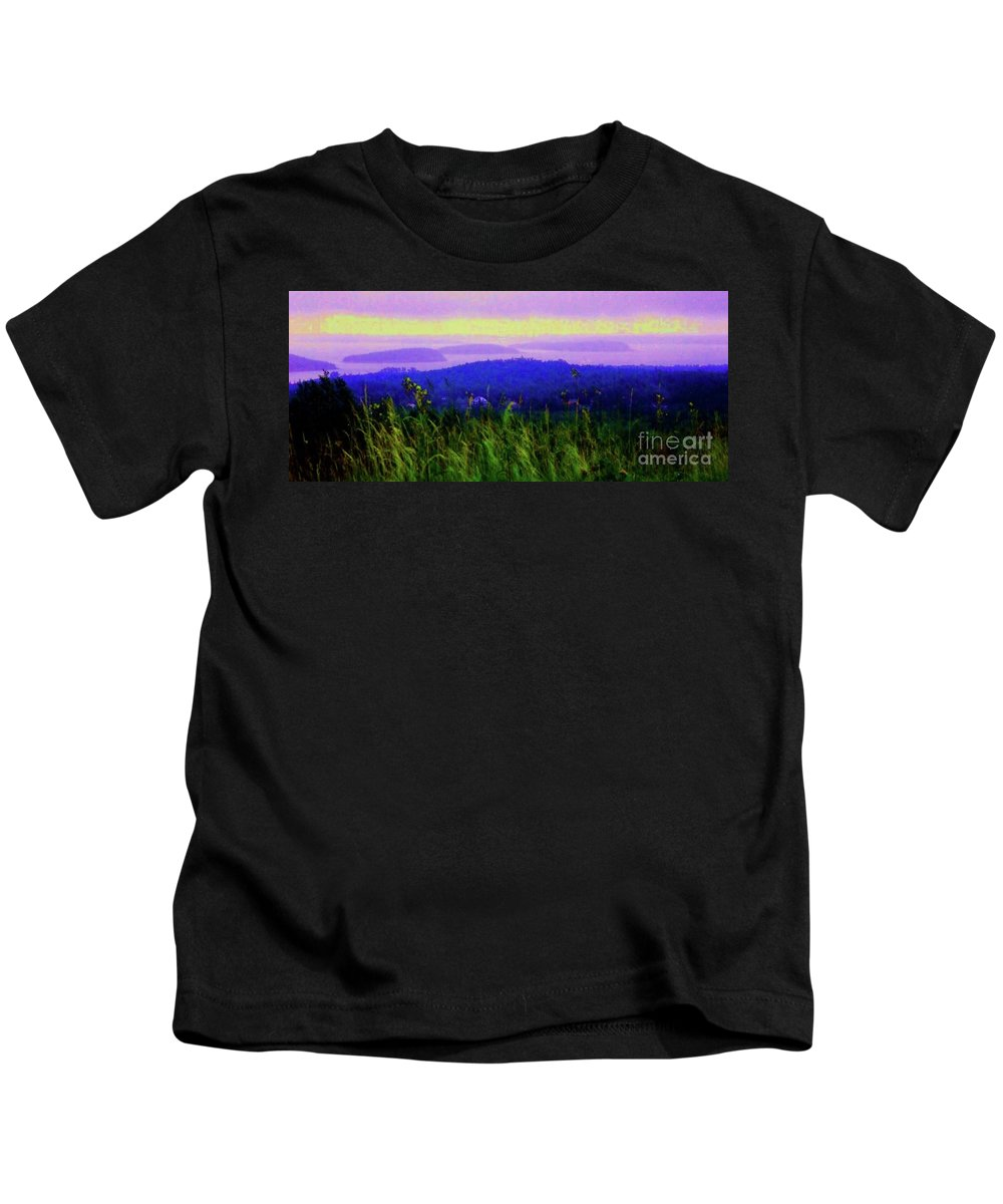 Acadia Kids T-Shirt featuring the mixed media Acadia Sunrise by Desiree Paquette
