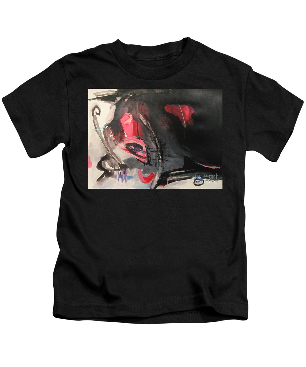 Abstract Paintings Paintings Abstract Art Paintings Kids T-Shirt featuring the painting Accessible To Nobody by Seon-Jeong Kim