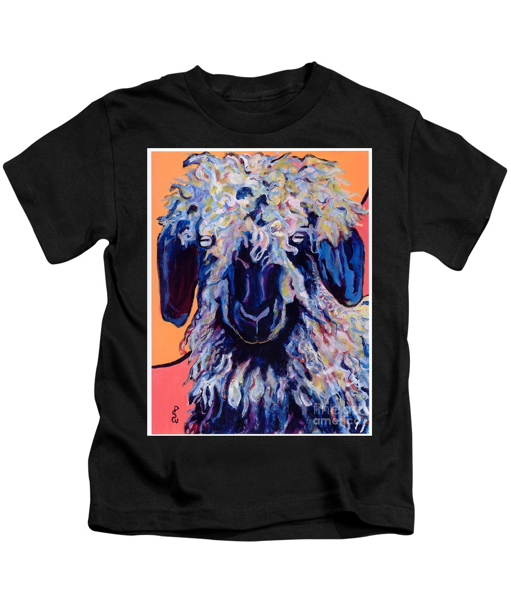 Goat Print Kids T-Shirt featuring the painting Adelita  by Pat Saunders-White