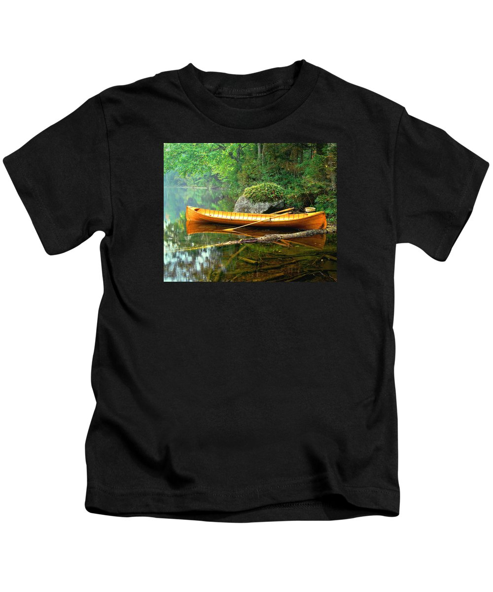 Adirondacks-boat-landscape-lake Kids T-Shirt featuring the photograph Adirondack Guideboat by Frank Houck