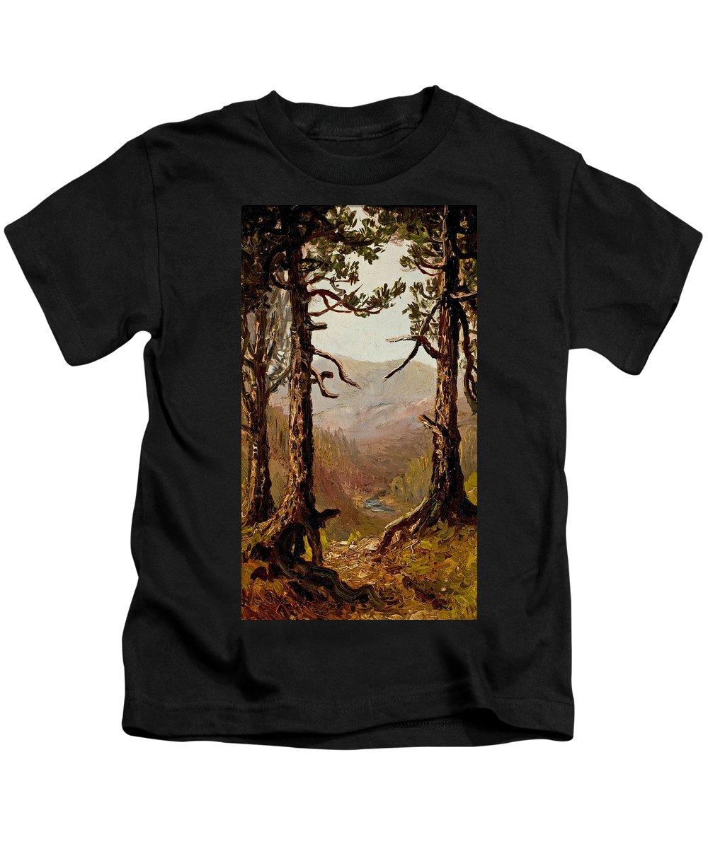 Ralph Albert Blakelock Kids T-Shirt featuring the painting Adirondack Landscape by Ralph Albert Blakelock