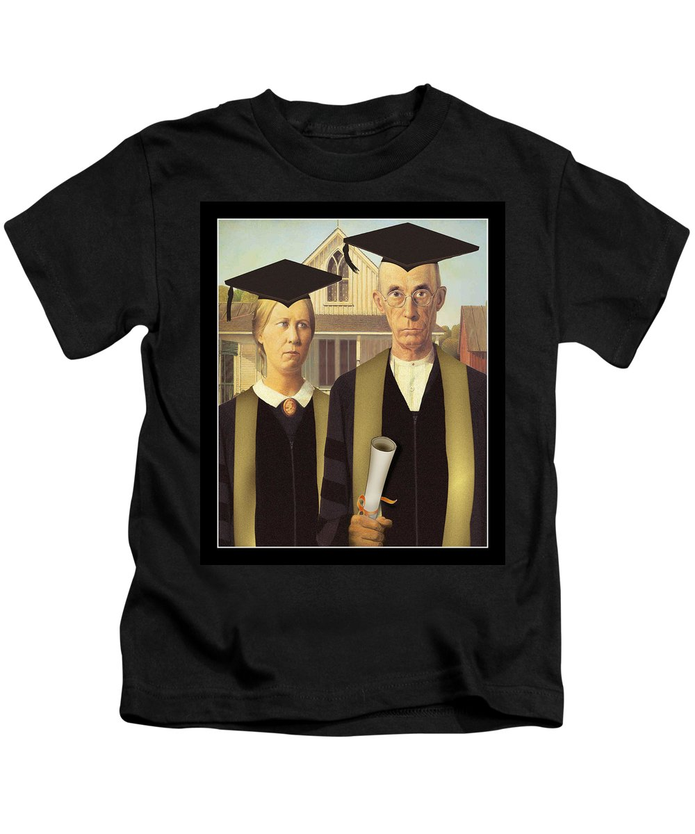 Grant Wood Kids T-Shirt featuring the painting Adult Graduates by Gravityx9 Designs
