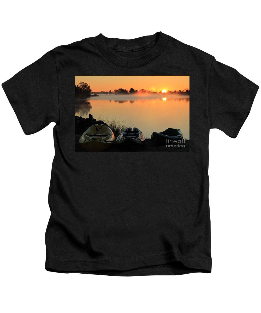 Kayaks Kids T-Shirt featuring the photograph Adventure Awaits by Melanie Steffe