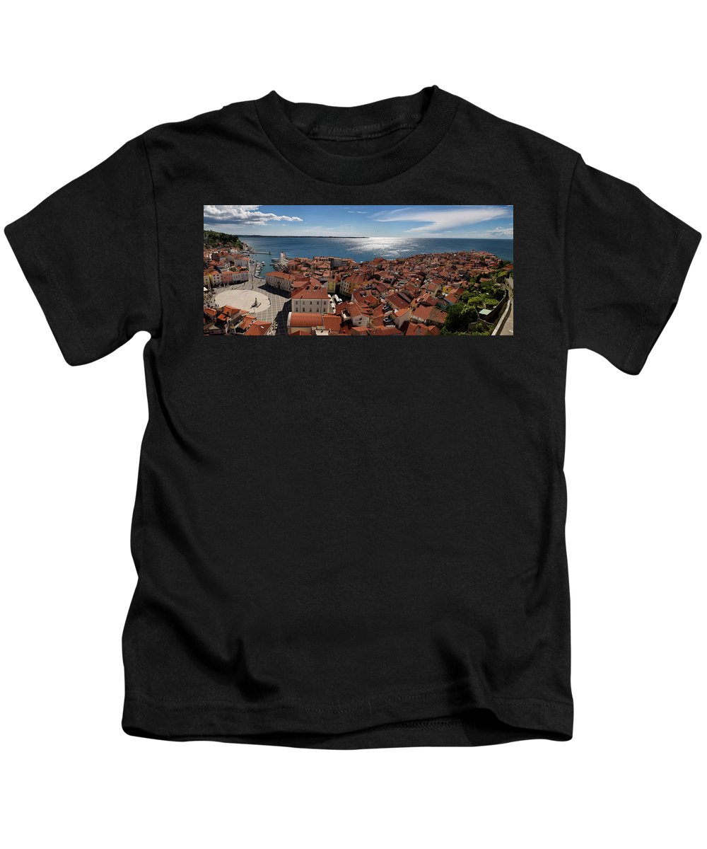 Aerial Kids T-Shirt featuring the photograph Aerial Panorama Of Piran Slovenia On Adriatic Sea With Marina An by Reimar Gaertner