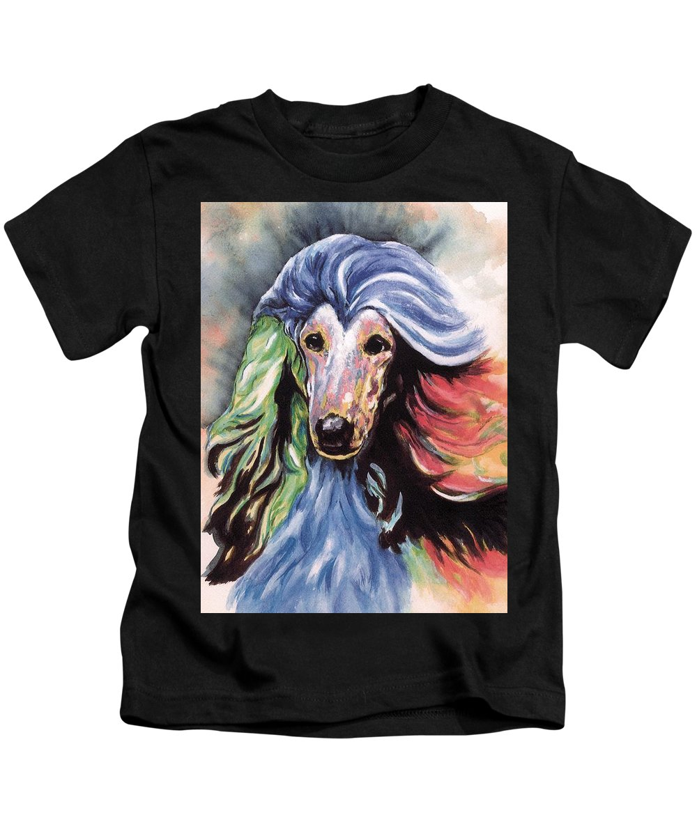 Afghan Hound Kids T-Shirt featuring the painting Afghan Storm by Kathleen Sepulveda