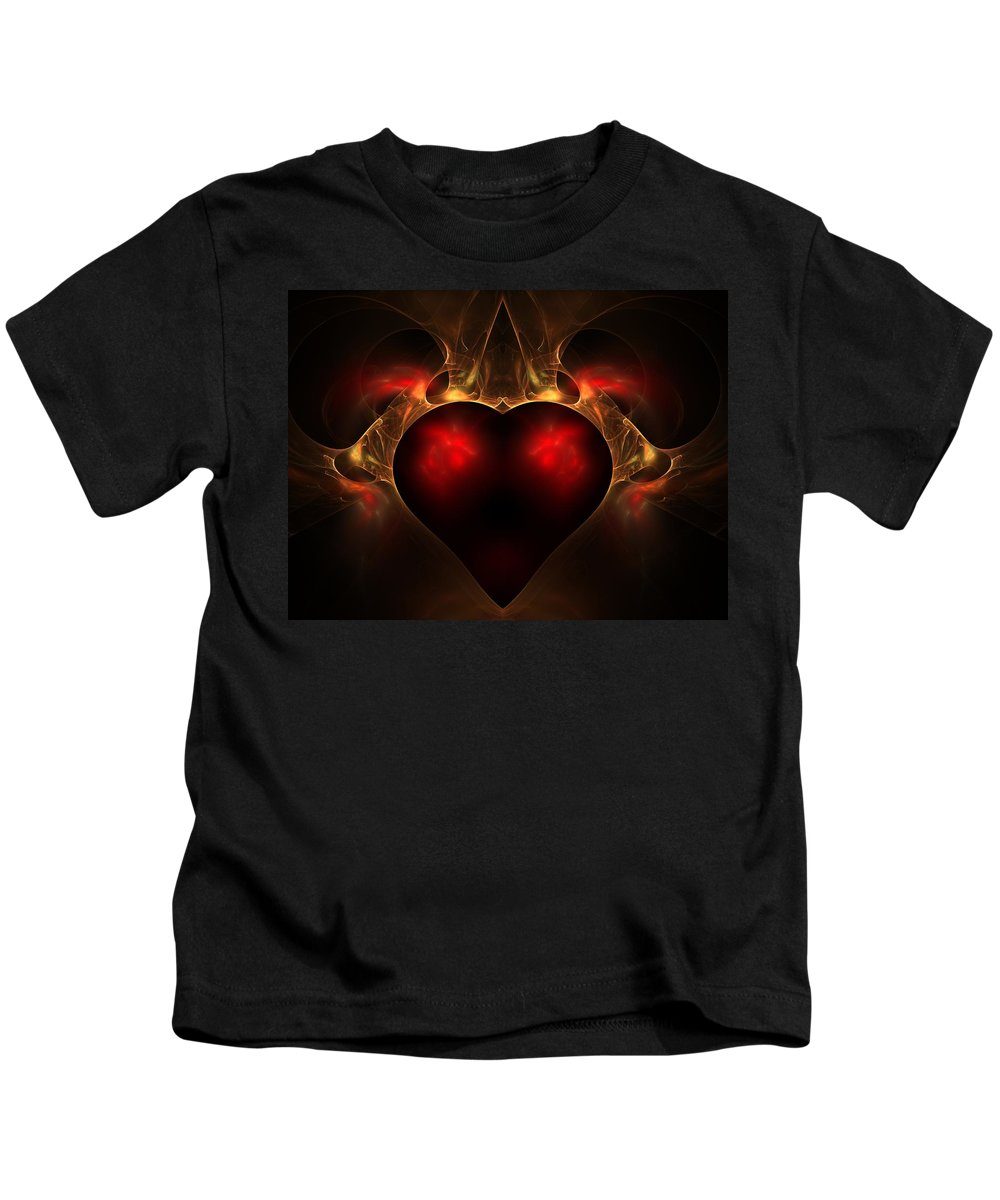 Fractal Kids T-Shirt featuring the digital art Aflame by Lyle Hatch