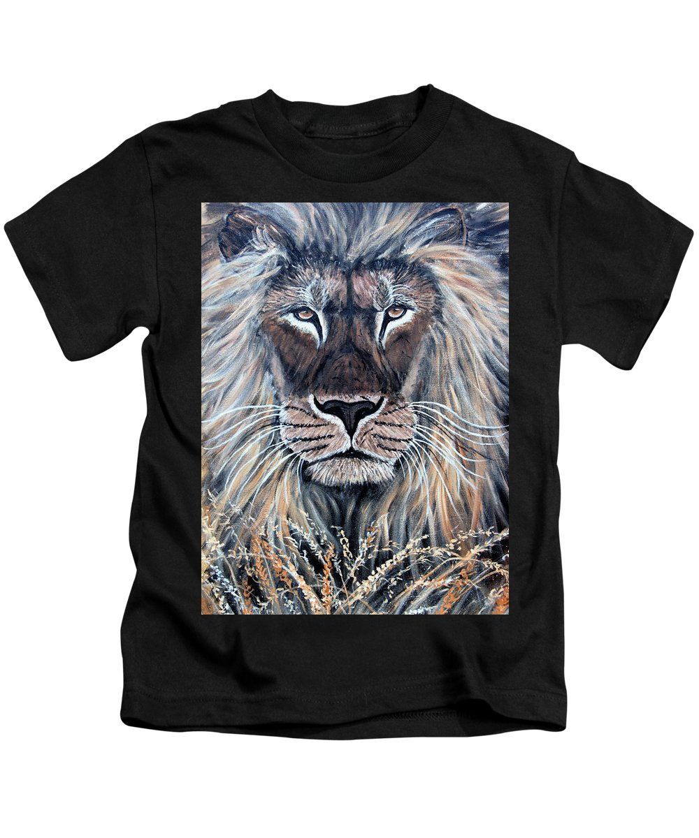 Lion Kids T-Shirt featuring the painting African Lion by Nick Gustafson