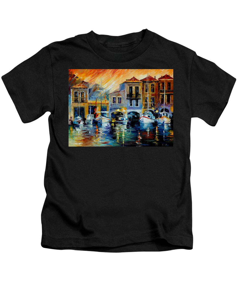 Afremov Kids T-Shirt featuring the painting After A Day's Work by Leonid Afremov