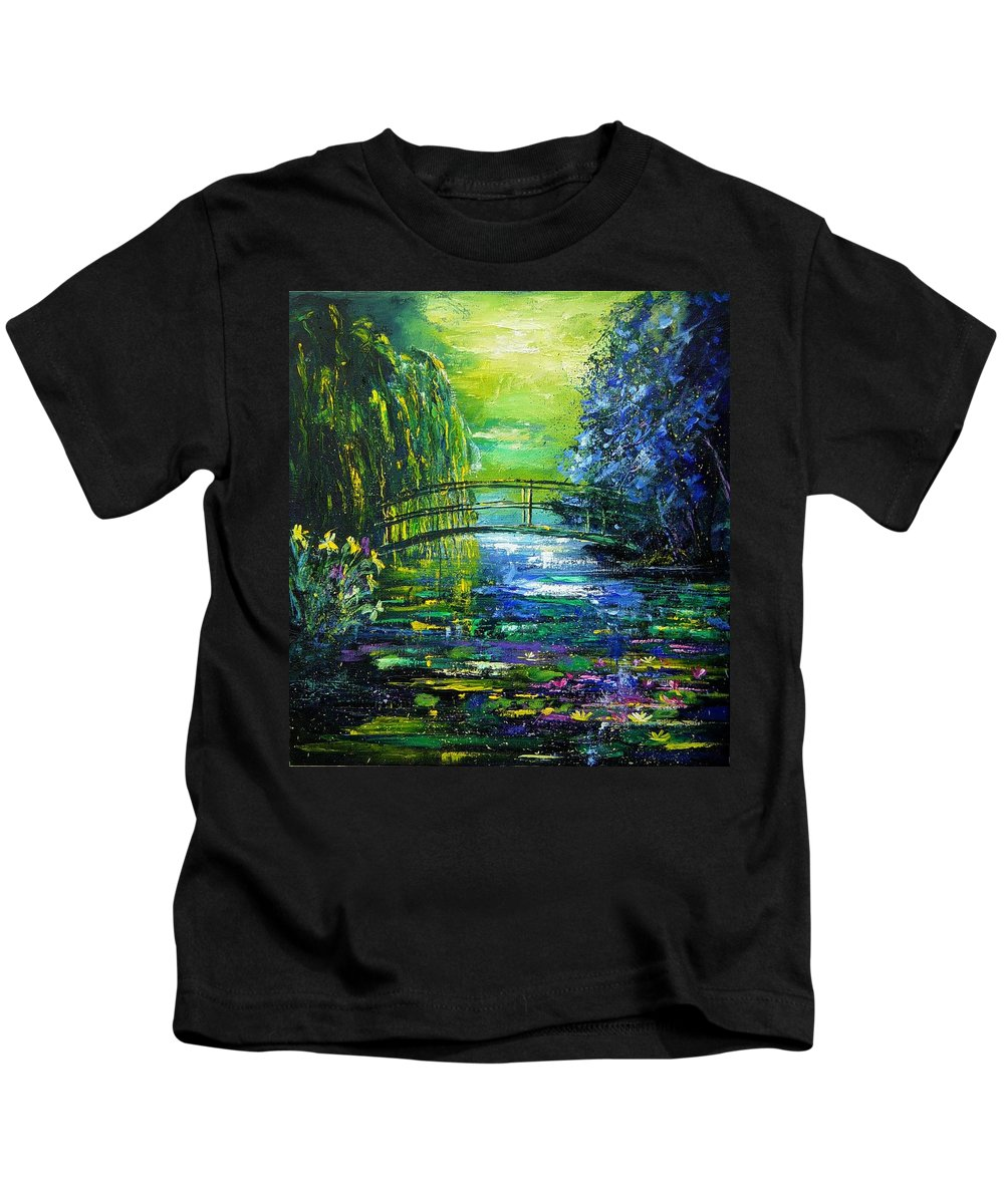 Pond Kids T-Shirt featuring the painting After Monet by Pol Ledent