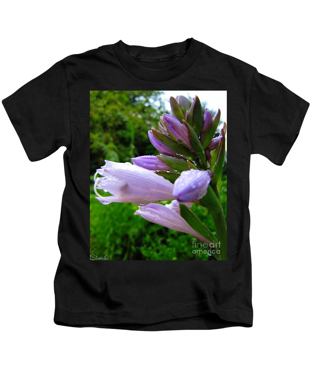 Hosta Kids T-Shirt featuring the photograph After The Rain by September Stone