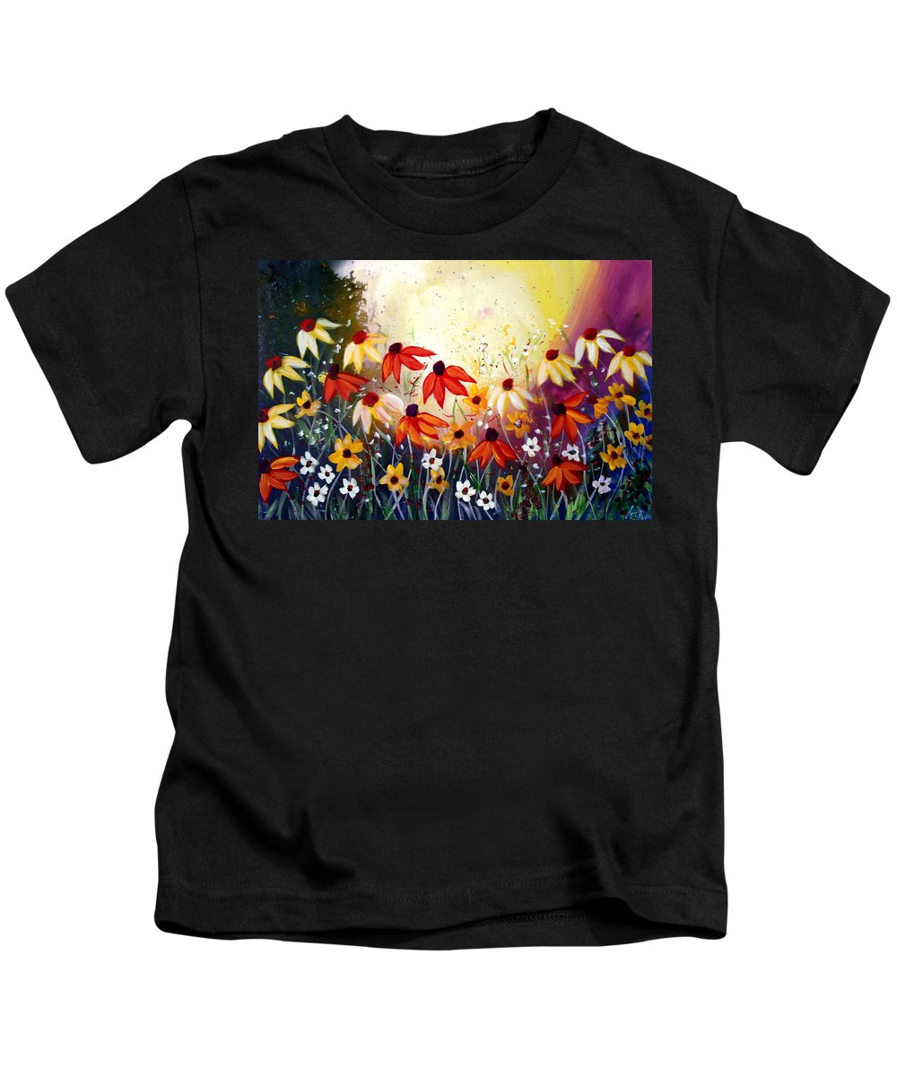 Flowers Kids T-Shirt featuring the painting After The Rain by Luiza Vizoli