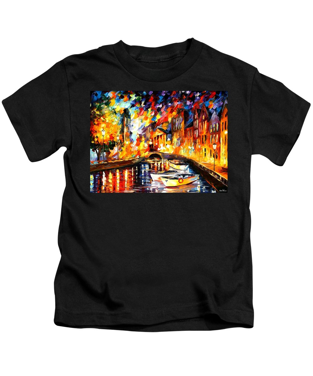 Afremov Kids T-Shirt featuring the painting After The River Turns by Leonid Afremov