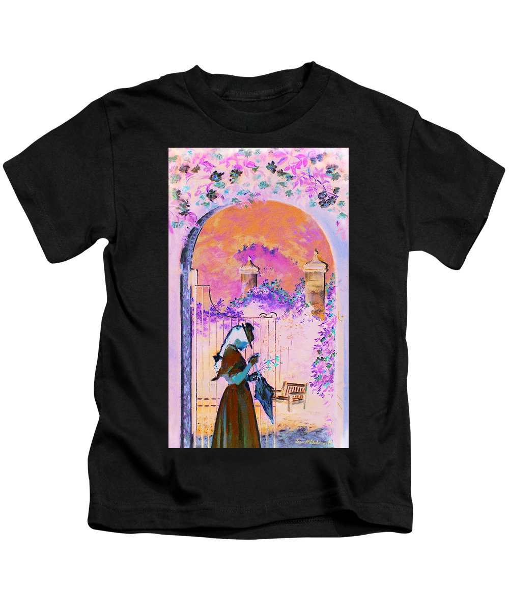 Rose Kids T-Shirt featuring the painting Afternoon Stroll by Jean Hildebrant