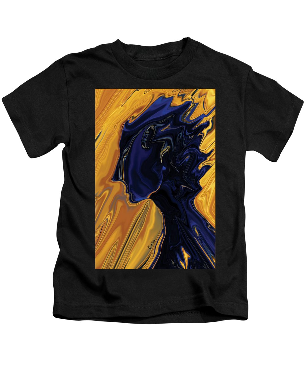 Abstract Kids T-Shirt featuring the digital art Against The Wind by Rabi Khan