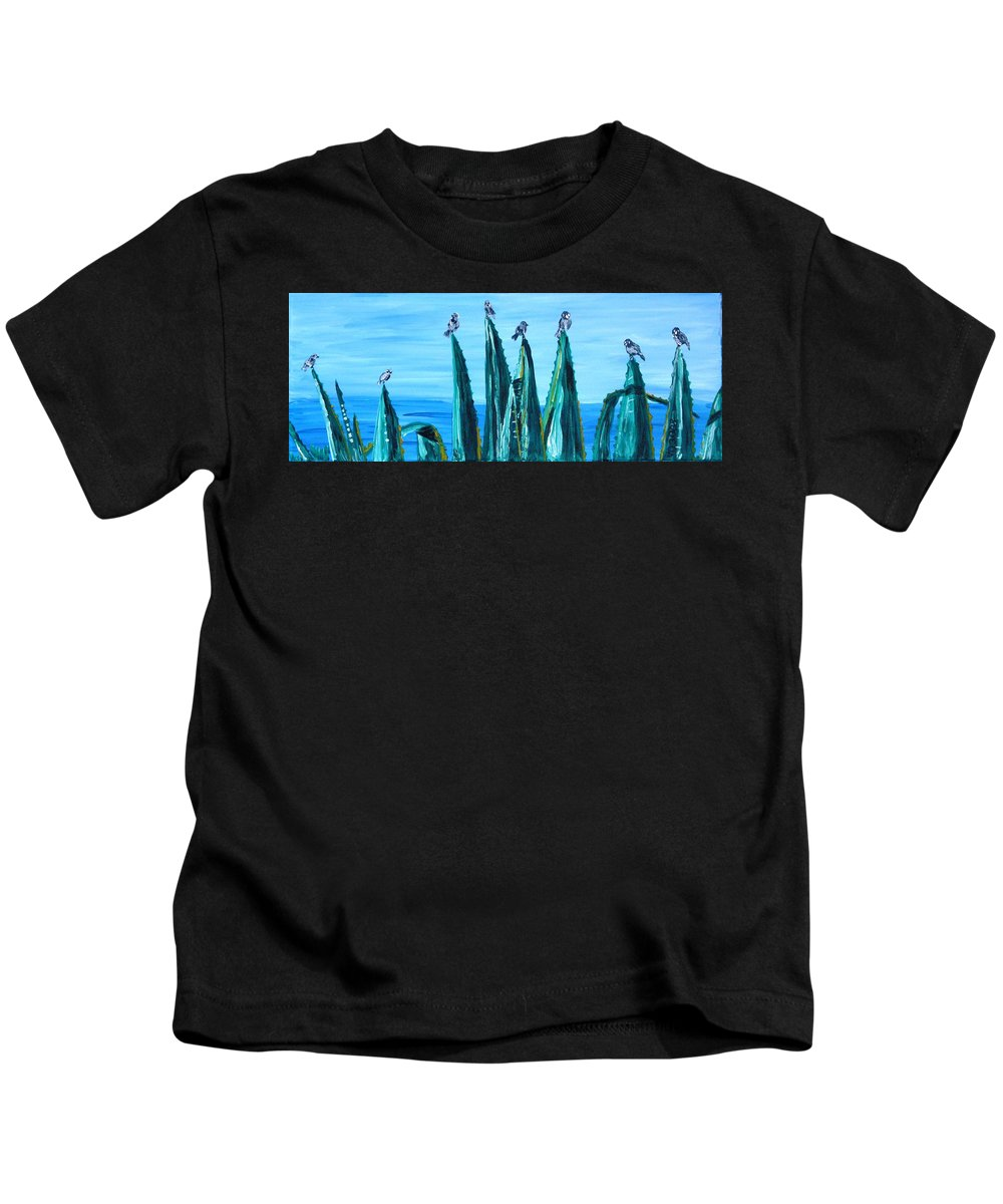Landscape Kids T-Shirt featuring the painting Agave With Sparrows by Valerie Ornstein
