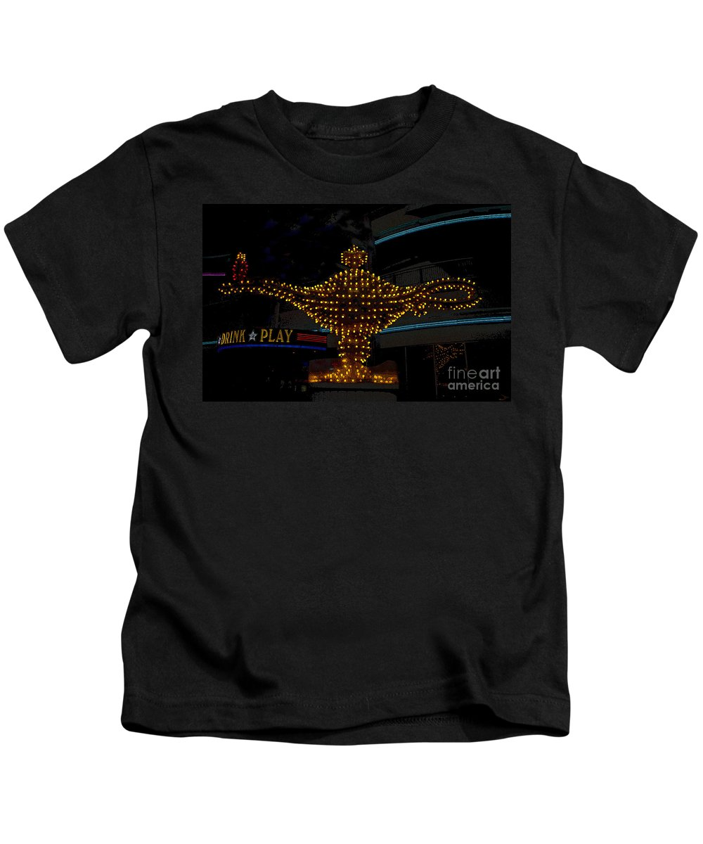 Art Kids T-Shirt featuring the painting Aladdin Las Vegas by David Lee Thompson