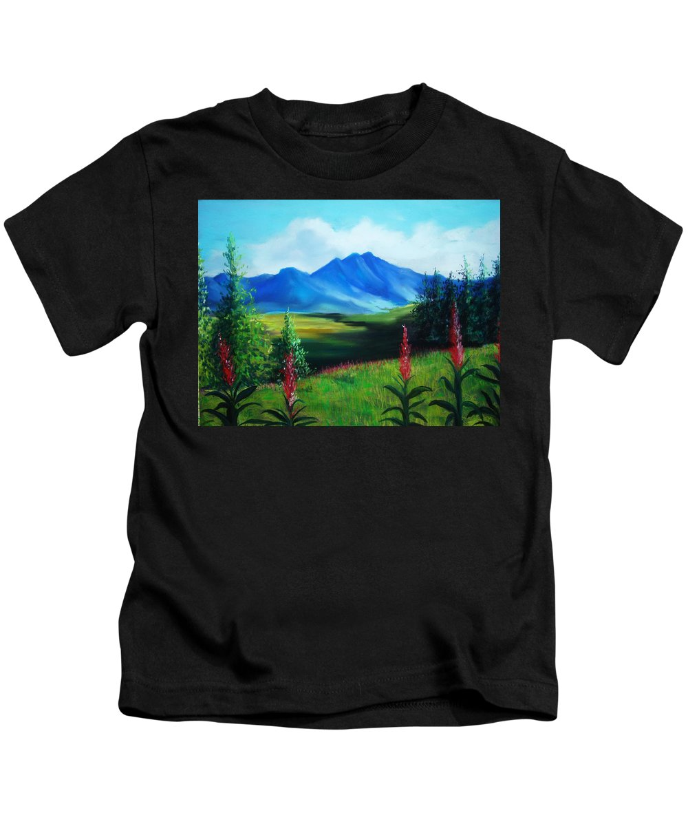 Alaska Kids T-Shirt featuring the pastel Alaska by Melinda Etzold