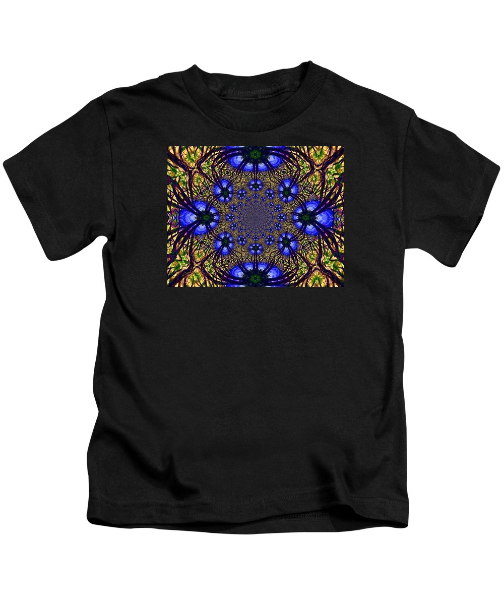 Blue And Yellow Kids T-Shirt featuring the digital art Blue Abstract by Anne Sands