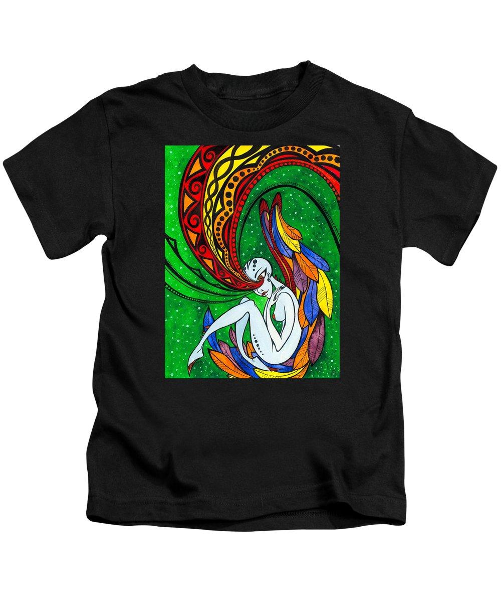 Woman Kids T-Shirt featuring the painting Alien Angel by Darya Lavinskaya