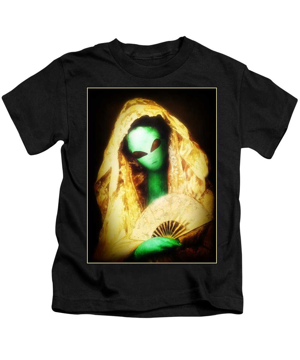Cassatt Kids T-Shirt featuring the painting Alien Wearing Lace Mantilla by Gravityx9 Designs
