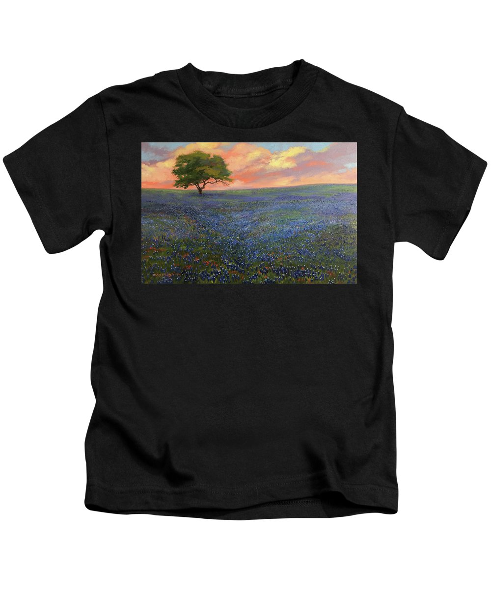 Bluebonnets Kids T-Shirt featuring the painting All About Bluebonnets by Nancy Paris Pruden