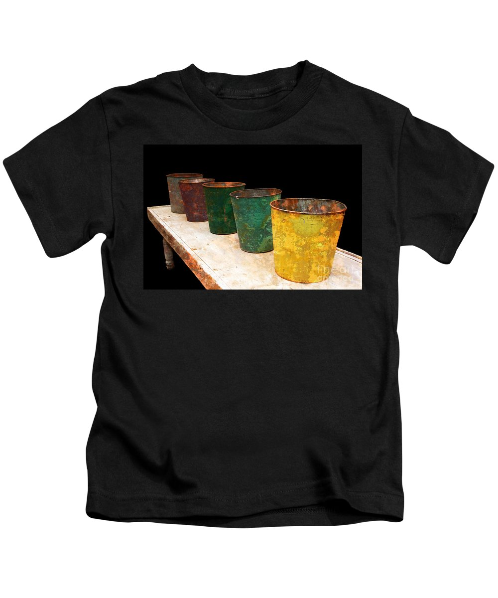 Bucket Kids T-Shirt featuring the photograph All In A Row by Lois Bryan