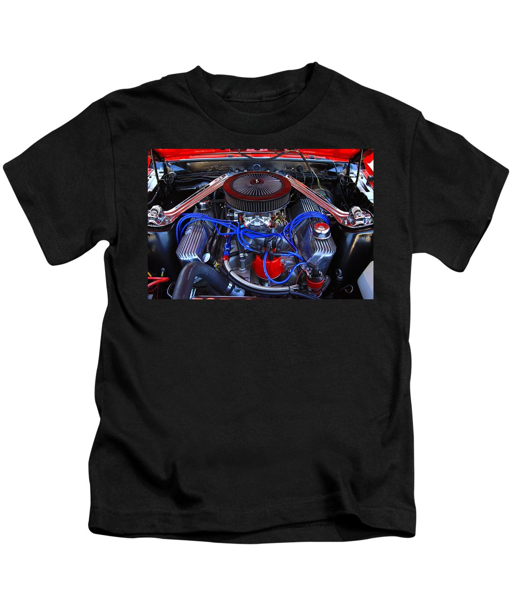 Engine Car Power Fast Classic Old Horse Power Red Blue Summer Beach Kids T-Shirt featuring the photograph All Power by Robert Pearson