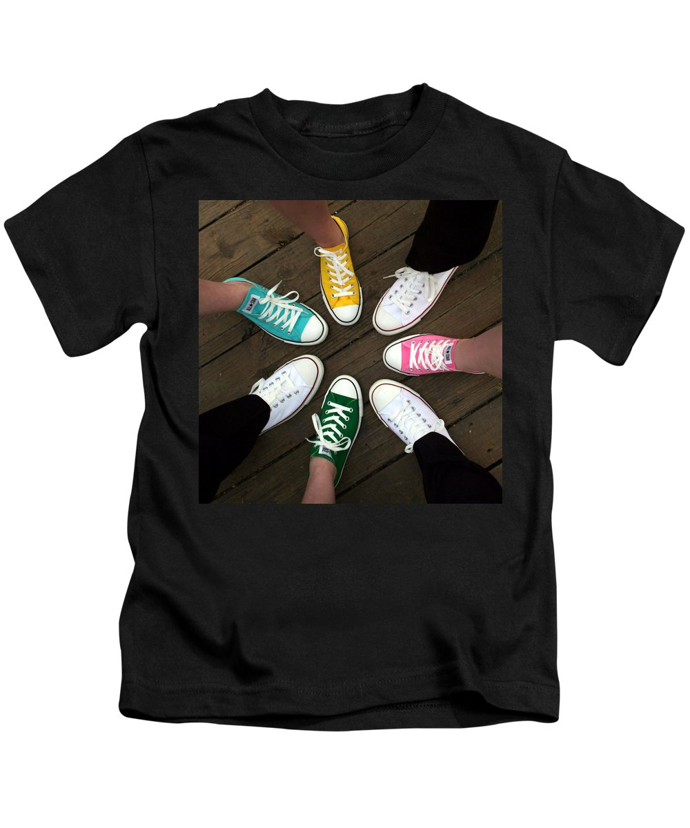 Sneakers Kids T-Shirt featuring the photograph All Stars Ready For The Prom by Rebecca Smith