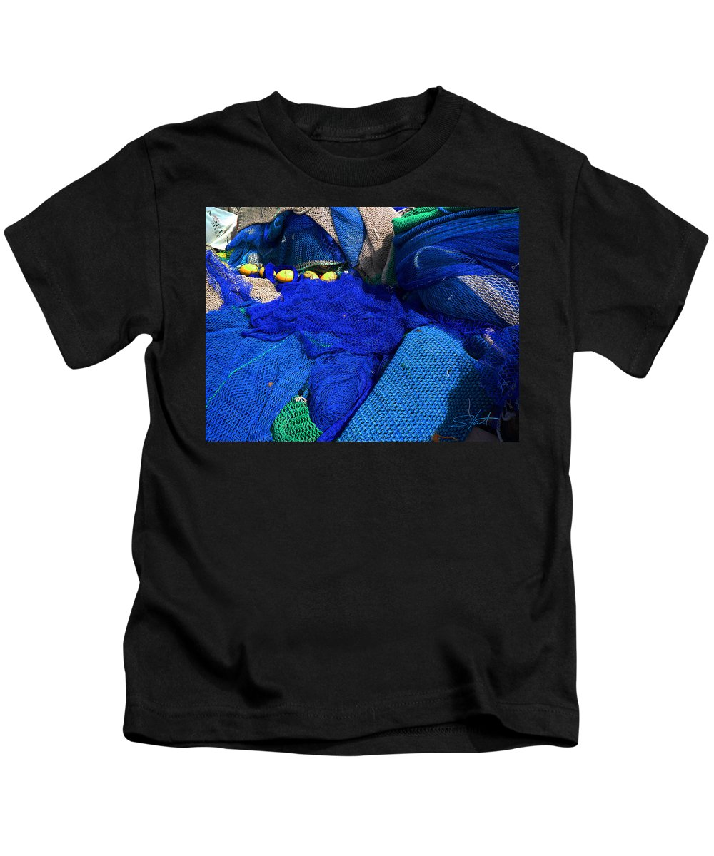 Fishing Net Kids T-Shirt featuring the photograph All The Blue Of The Sea by Charles Stuart