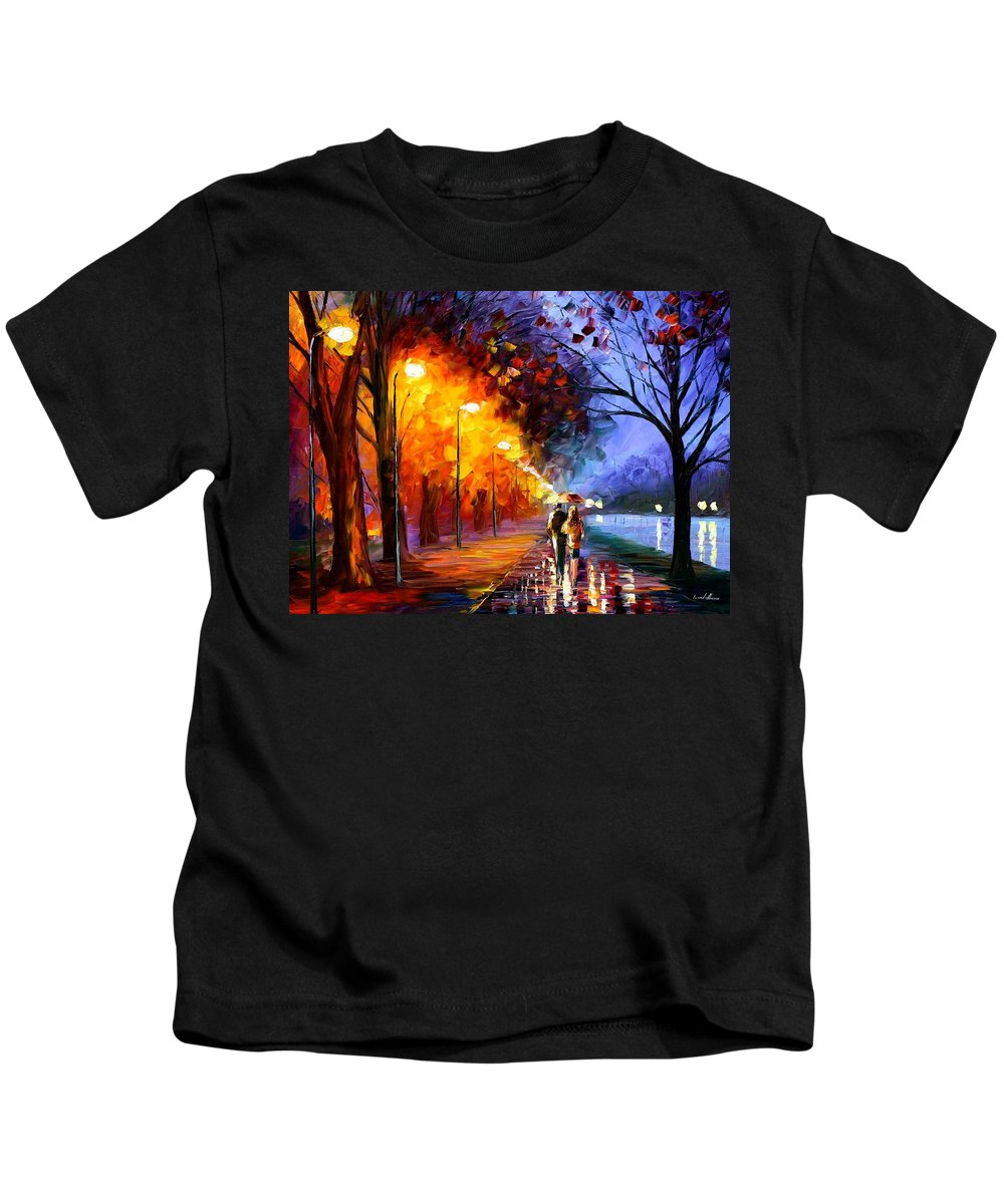 Afremov Kids T-Shirt featuring the painting Alley By The Lake by Leonid Afremov