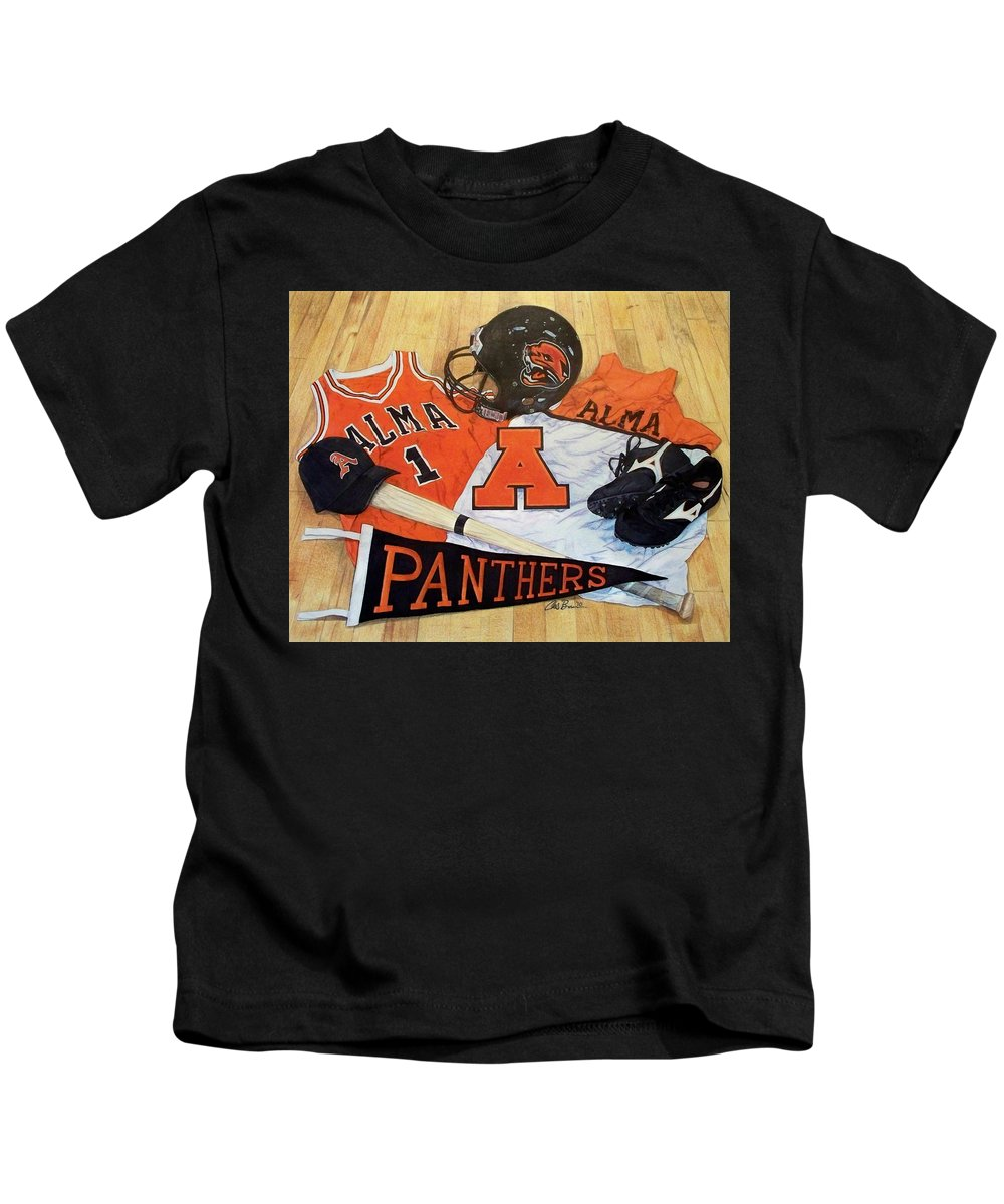 Alma Kids T-Shirt featuring the drawing Alma High School Athletics by Chris Brown