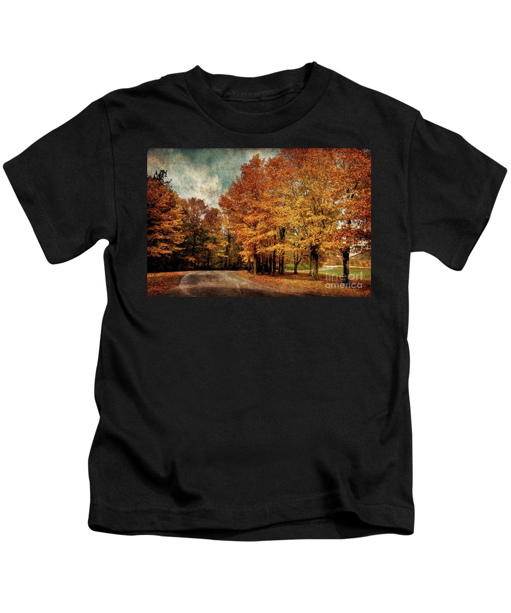 Country Road Kids T-Shirt featuring the photograph Almost Home by Lois Bryan
